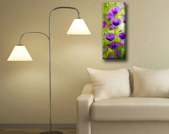 Poppy Flower Painting Purple Poppy, Original Painting Landscape Painting, Wall Art, Canvas Art, Purple Poppy, Vertical Canvas