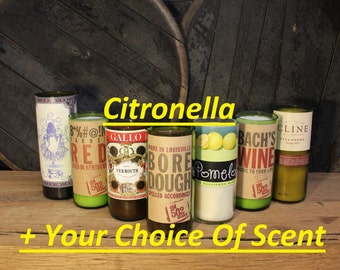SCENT OPTIONS! Citronella Wine Bottle Candles / Bug Repellent Candles / Upcycled Wine Bottle Candles / Summer Candles / Outdoor Candles