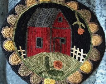 Rug Hooking Pattern/Chair Pad/Hooked Rug/paper Pattern/Red Barn/