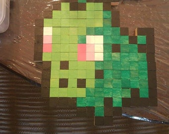 Chikorita Pokemon Wooden 8 Bit Wall Decor
