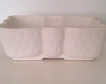 Vintage 1950's UPCO USA 107-10 White Bow Shaped Ceramic Planter Mid Century Modern