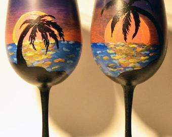hand painted wine glasses-island sunset-set of 2