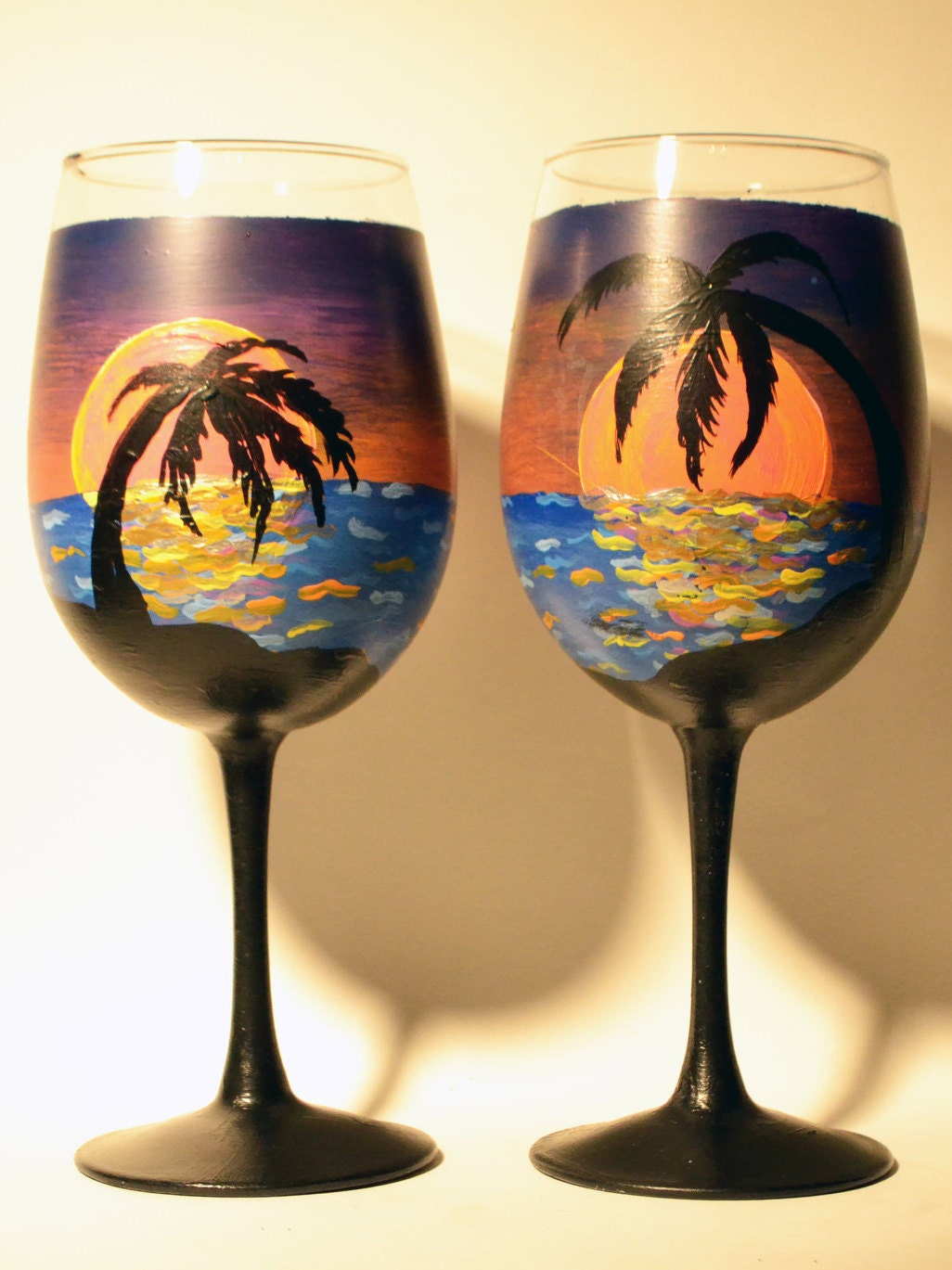 Hand painted wine glasses island sunset set of 2 for Hand painted glassware