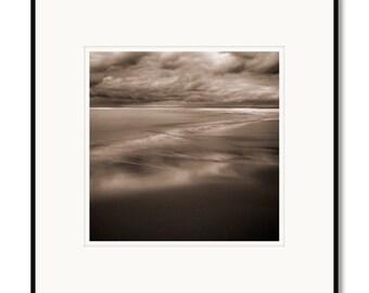 Black and White Photography, Sepia Photography, Cape Cod, Shoreline, Beach, Coastal Landscape, Framed Photo, Limited Edition by Adrian Davis