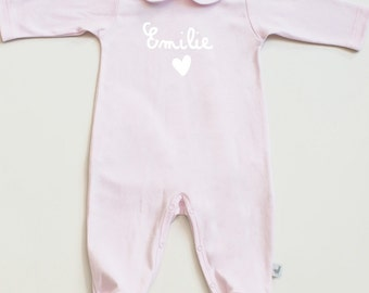 Baby girl footie with peter pan collar-Baby pajamas-toddler pajamas- peter pan footed playsuit-sleeper-pajama-personalized baby's name