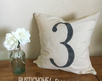 Number Pillow | Rustic Pillow Cover | Farmhouse Pillow | Multiple Sizes Available | Custom Pillow Cover | Made To Order