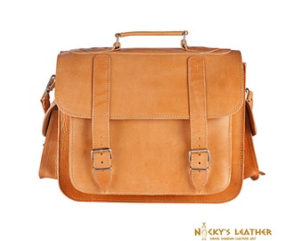 LEATHER LAPTOP BAG  - 17 inches Messenger Bag from 100% Full Grain Leather