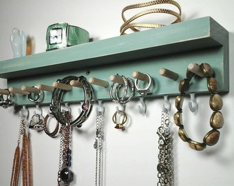 Jewelry Organizer Wall Jewelry Holder, Necklace Hanger, Earring Holder, Ring Holder, Bracelet Holder with Shelf. Jewelry Gifts for Her.