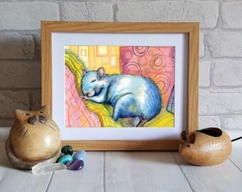 Rat Art illustration Print  -  Blue Rat print - Rat drawing - Rat print - Watercolor rat painting - Rat  drawing - Rat painting - Wall Art