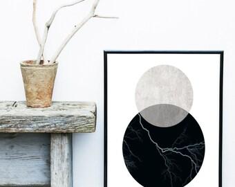 Geometric Wall Art, Printable Art, Mid Century Modern, Circles Print, Geometric Art, Wall Decor, Abstract Art Print, Scandinavian Art