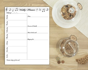 Weekly planner printable, A5 planner inserts, Weekly agenda, Music note planner, Calligraphy stationery