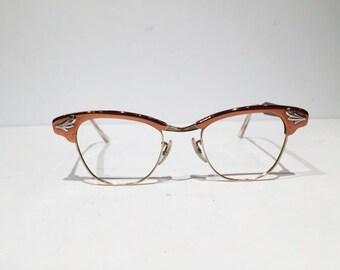 Vintage Universal Optical 12K Browline Glasses Frames, Cat Eye Silver Embellishment Eyeglass or Sunglass Frames, 1950s60s Cateye Rockabilly