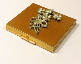 Vintage Ritz Gold & Rhinestone Powder Compact 1950s
