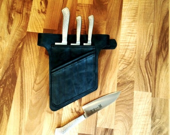 Luxury Gifts, Dark Brown Chef Knives Belt, Chef knife case, Chef knife roll, Chef bag, Chefwear, Gift for Him, Kitchen Accessories