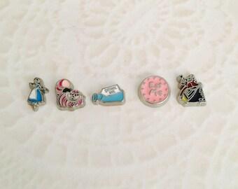 Alice in wonderland inspired floating charm for memory lockets