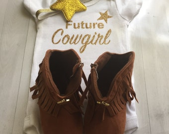 Baby Black & Gold Glitter Future Cowgirl Onesie, Onesie ONLY Headband And Boots NOT Included. Can Be Personalized, Any Size