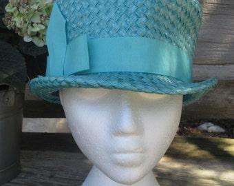 1960s Blue Hat, Woven Raffia, Bubble Hat, Cello Straw, High Crown