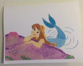 Brunette Mermaid Card