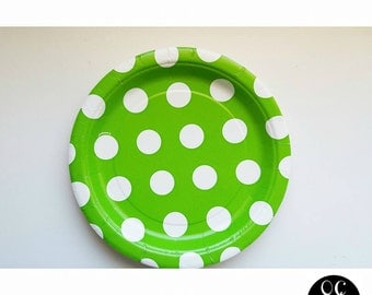Lime Green and White Dot Dessert Paper Plate (Set of 8)