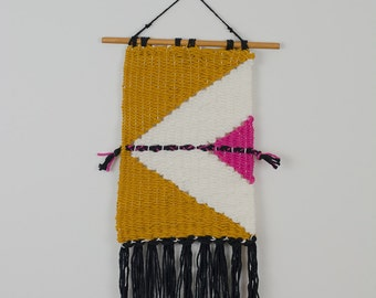 Yellow Geo.: Hand Woven Wall Hanging, Weaving Wall Hanging, Woven Tapestry
