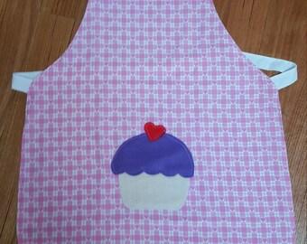 Girls Kitchen Apron with Cupcake