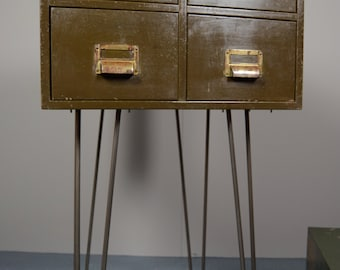 Retro Vintage Industrial Filing Drawers Cabinet Storage On Hairpin Legs