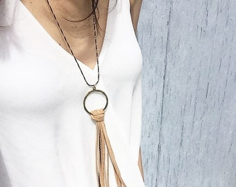 Best seller- Brown Leather Tassel Necklace,  Fringe Necklace, Leather Necklace, Statement Necklace, Women Jewelry, Bohemian Necklace