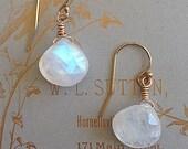 Earrings | Moonstone Earrings | Simple Moonstone Earrings | Minimalist Earrings | Rainbow Moonstone | Gold Filled Earwires | Gift for Her