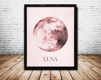 Moon Print Moon Poster Moon Art Moon Wall Art