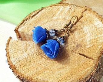 Drop Earrings Royal blue roses Handmade polymer clay / Blue wedding Jewelry Earrings Bridesmaid Gift Earrings blue roses