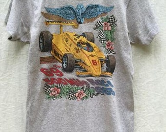 Vintage Grey T-Shirt INDIANAPOLIS 69th INDY 500 Racing 1985 Size S