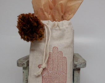 Hand stamped Cotton Gift Bag...Hamsa