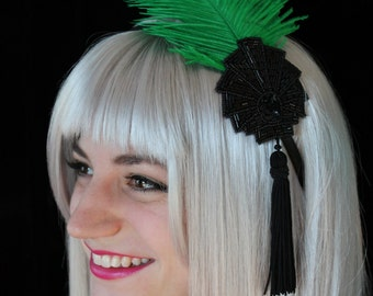 SALE! Fascinator Headband with Feather & Tassel - Green Ostrich Feather - Black Sequins - Mardi Gras/Flapper/1920s/Gatsby/Carnival
