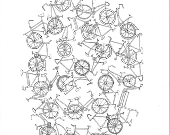 Bicycles, Ink drawing art print, black and white wall art illustration, print from original.
