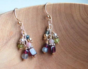 Tiny Gemstone Cluster Earrings, Dainty Gemstone Earrings, Delicate Earrings, Delicate Drop, Small Dangle, Colorful Gemstone Earrings