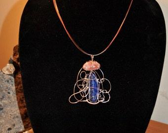 Lapis Lazuli & Sunstone Wire Wrapped Pendant