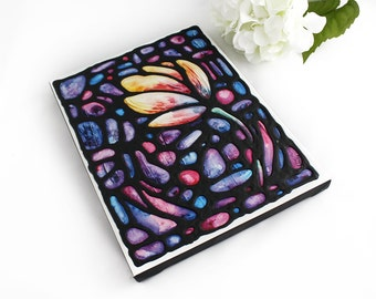 Tulip Print on Canvas with Hand Painted Outlines - Colourful Tulip on Purple, Pink & Blue Background - 9 x 12 inch by artist Kathy Lycka