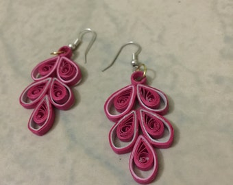 Pretty Pink Quilled Earrings