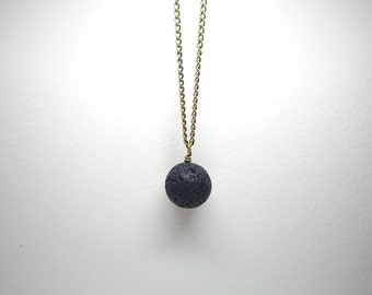 Ball & Chain Pendant ~ Lava Ball Necklace ~ Pendulum Sphere Accessory ~ Gemstone Ball Necklace ~ Modern Stone Jewellery ~ Moon Planet Chain