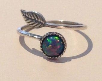 Blue Opal Leaf Ring
