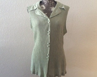 Vintage 1980s Sleeveless Green Top, 1980s Green Top, Vintage Sleeveless Top
