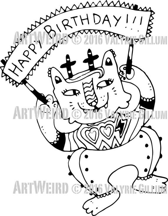 DigistampHappy Birthday CatKittycat digistampCat