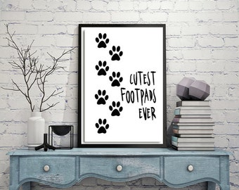 Dog print, Footprints, Print on canvas, Home decor wall art, Printable art, Pet, Dog lover gift, Black and white poster, One free, DIgital