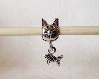Cute Kitty and Fish Charm Bead in Antique Silver-Tone Fits European Charm Bracelets B20210