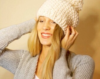 Slouchy Knit Chunky Pom Pom Hat Cream Knitted Hat Wool Blend COLOR OPTIONS!