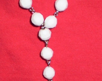 White bracelet rosary with plastic beads