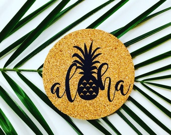 Hawaii Aloha Pineapple Coaster Set ~ Hawaii Aloha Coaster ~ Hawaii Pineapple Coaster ~ Hawaii Coaster Set