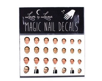 Nic Cage Nail Decals 2 / Nic Cage Face Decals / Celebrity Nail Decals /Nic Cage Nail Wraps / Nic Cage Nail Art / Nic Cage / Nicolas Cage