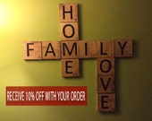Scrabble Wall Art - Home decor - Wood squares - Large Scrabble Tiles - Hand Painted: Family, Home, Love Set wedding gift