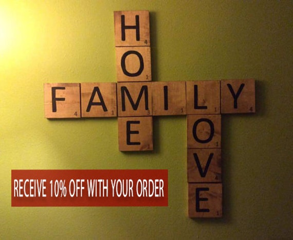 Scrabble Wall Art Home Decor Wood Squares Large By Crafteme78